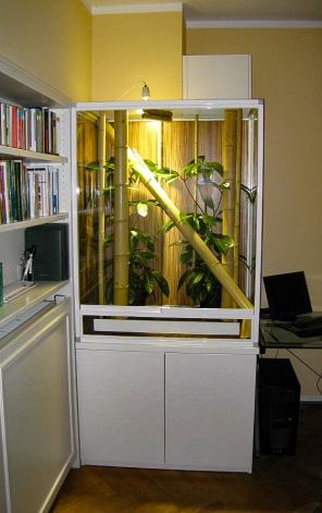 Terrarium Nosy Bé in einer Schrankwand integriert.